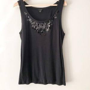 Ann Taylor Black Tank Top With Sequin Neckline